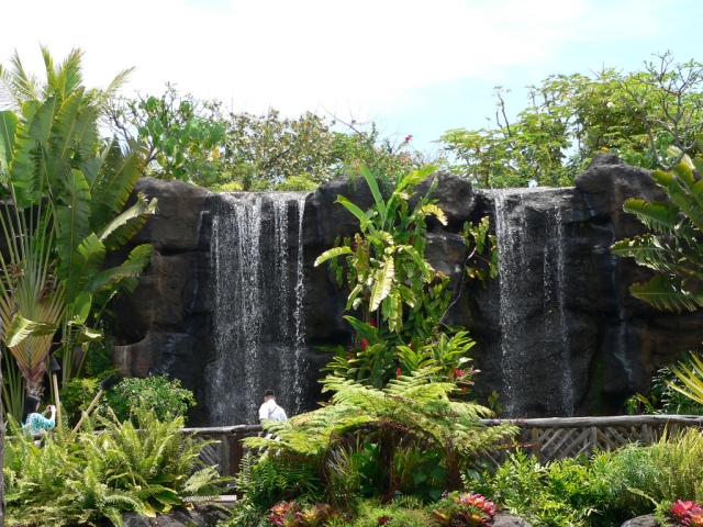 """waterfall"" at the Polynesian Cultural Center"