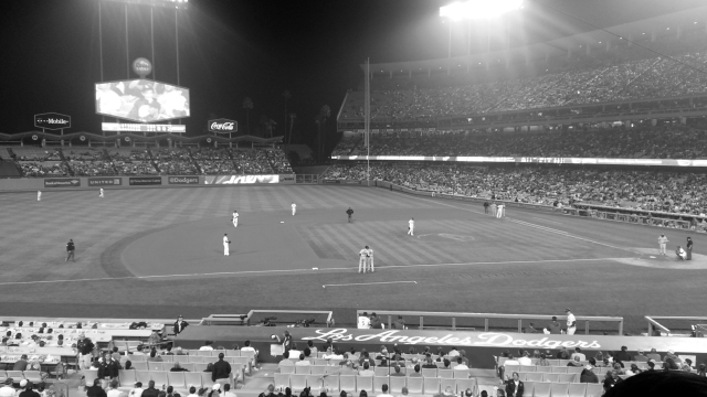 I took this b/w picture with my cell phone's camera.  We had good seats, 2nd level, 3rd row, right at 3rd base.