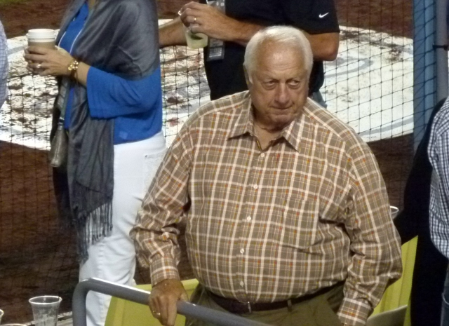 speaking of former Dodger players, Tommy Lasorda was there as well...