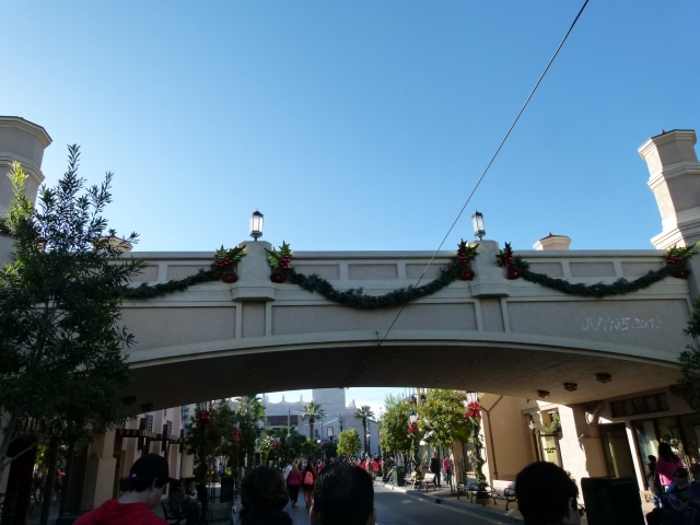 "heading into DCA, you walk under the monorail line, the new ""overpass"" is based on the Glendale-Hyperion bridge featured in ""Who Framed Roger Rabbit"""